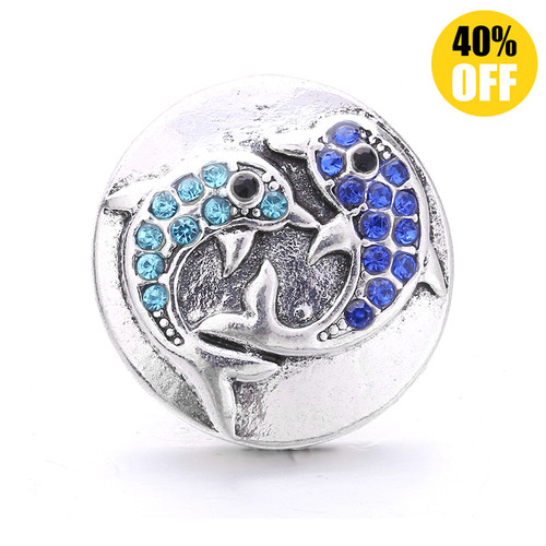 18MM Two Fish Snap Jewelry Charms LSSN1101