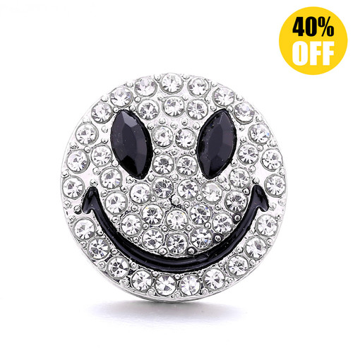 18MM Silver Smiley Snap Jewelry Charms LSSN1103