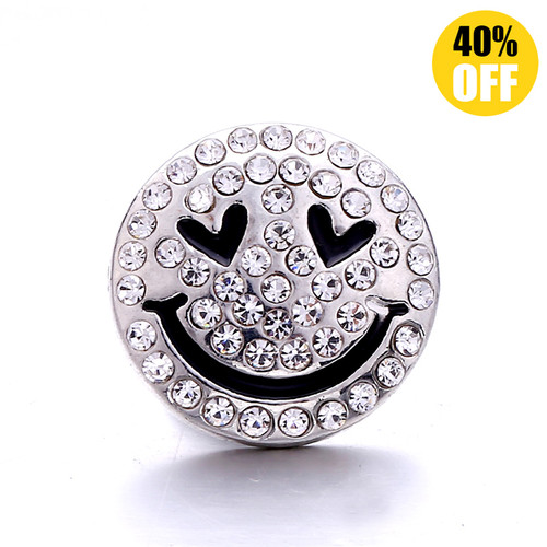 18MM Silver Smiley Snap Jewelry Charms LSSN1104