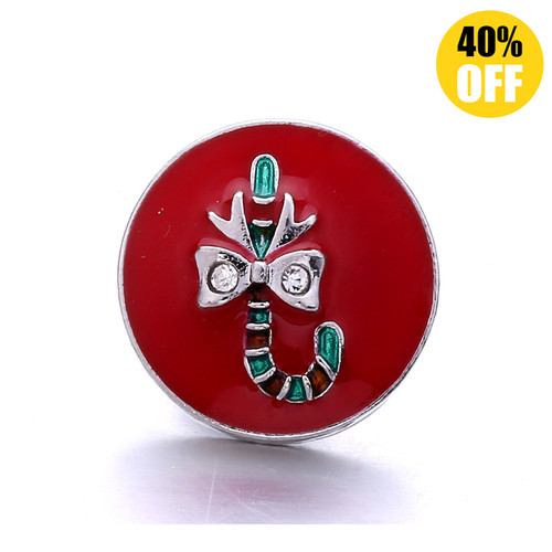 18MM Christmas Cane Snap Jewelry Charms LSSN1107