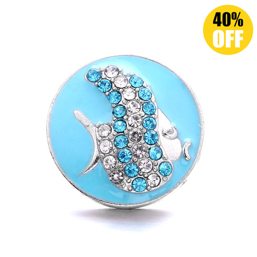 18MM A Fish Snap Jewelry Charms LSSN1111