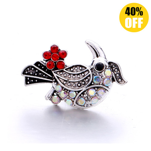 18MM Color Bird Snap Jewelry Charms LSSN1124