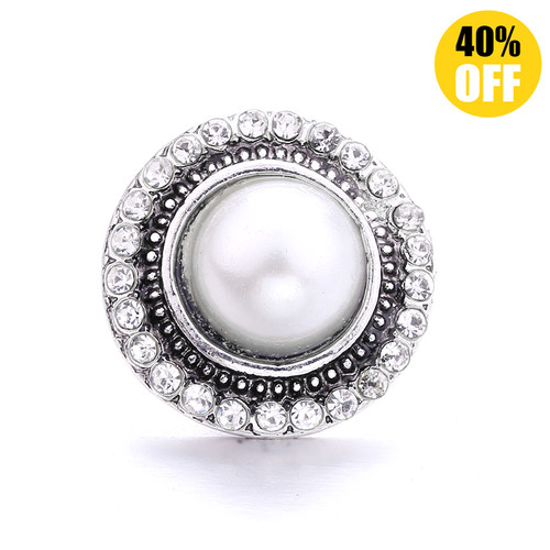 18MM White Round Snap Jewelry Charms LSSN1125