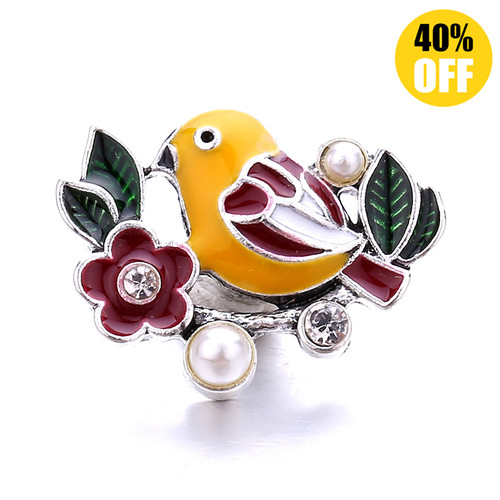 18MM Bird Standing On The Tree Snap Jewelry Charms LSSN1128