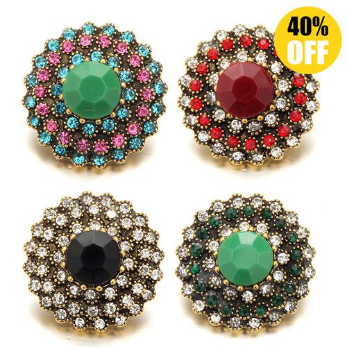 18MM Round Diamond Snap Button Bracelet Charms LSSN1129