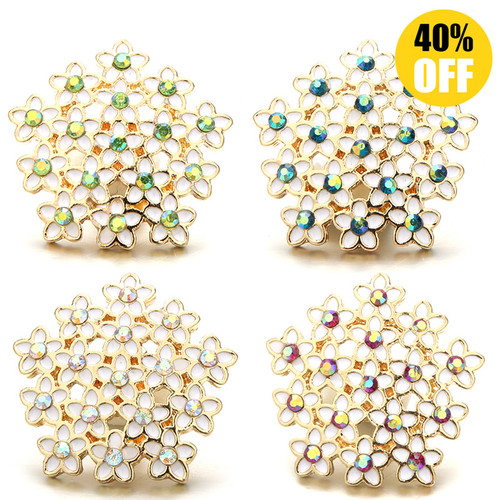 18MM Pretty Pentagonal Flowers Snap Button Charms LSSN1130