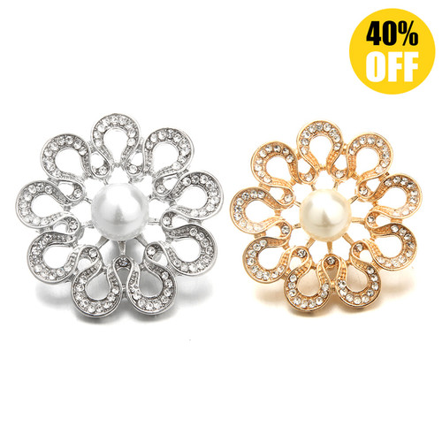 18MM Hollow Crystal Flowers Snap Button Charms LSSN1135