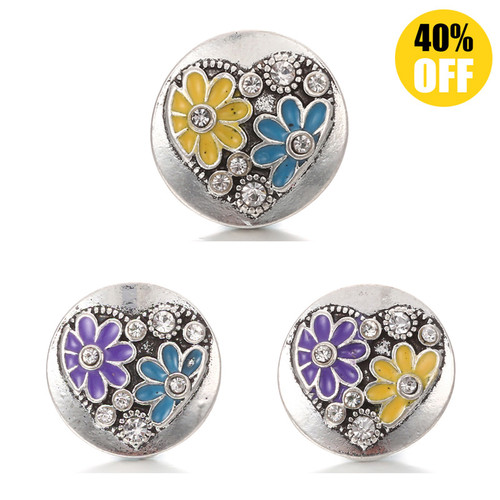 18MM Two Flowers Snap Button Charms LSSN460