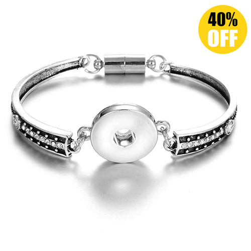 18mm Silver Snap Button Charms Bangle Bracelet LSNB39-1