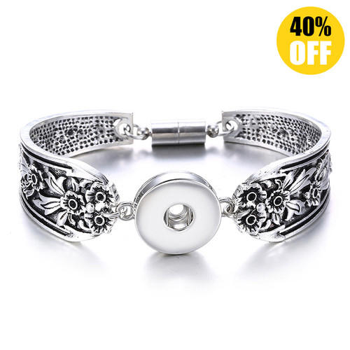 Vintage Silver Flower Snap Jewelry Bracelets For Women LSNB53-1