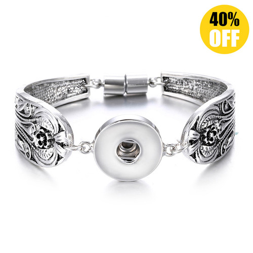 Vintage Silver Flower Snap Jewelry Bracelets For Women LSNB54-1