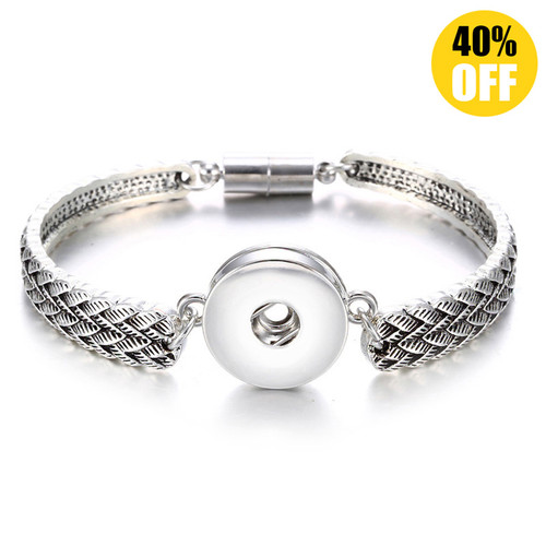Vintage Silver Flower Snap Jewelry Bracelets For Women LSNB55