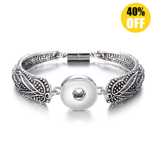 Vintage Silver Flower Snap Jewelry Bracelets For Women LSNB56-1