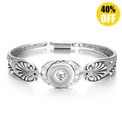 Vintage Silver Flower Snap Jewelry Bracelets For Women LSNB57-1