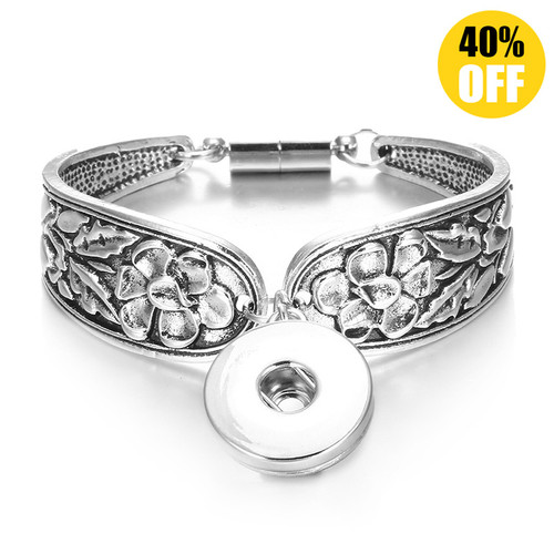 Vintage Silver Flower Snap Jewelry Bracelets For Women LSNB58-1