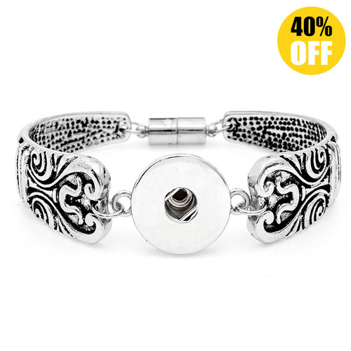 Vintage Silver Flower Snap Jewelry Bracelets For Women LSNB75-1