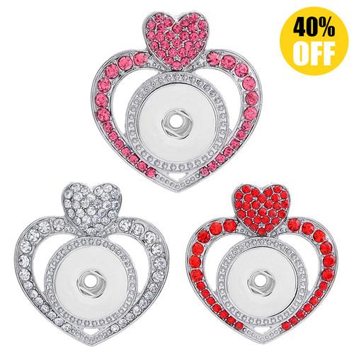 Heart Snap Button Necklace Pendant LSNP104