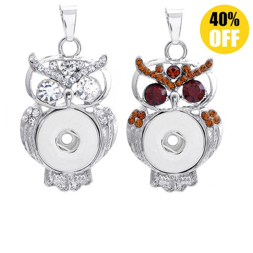 Crystal Owl Button Pendant For Women LSNP106