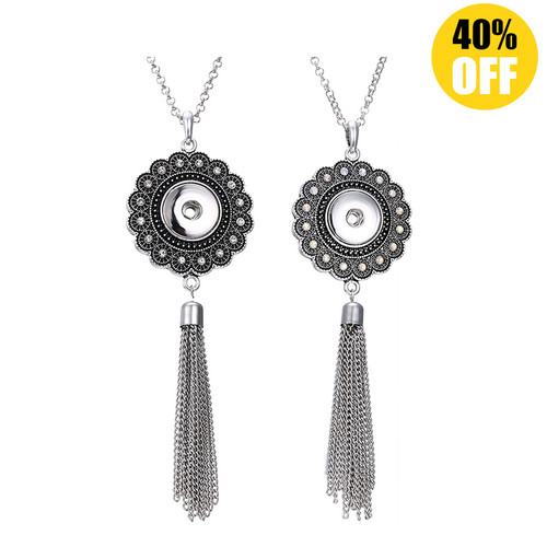 Crystal Heart Tassel Snap Jewelry Necklace For Women LSNP141