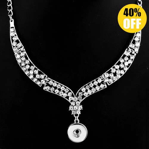 Crystal Full Rhinestones Snap Button Necklace For Women LSNP185