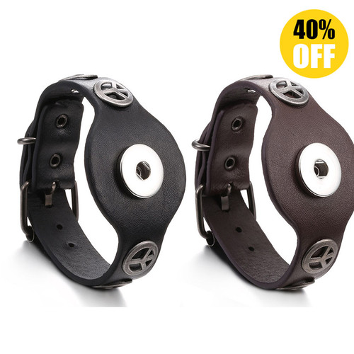 Vintage Peace Leather Snap Button Bracelets LSNB98