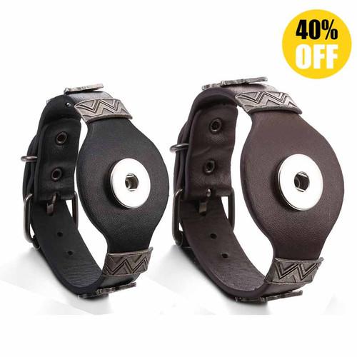 Vintage Rectangle Leather Snap Button Bracelets LSNB100