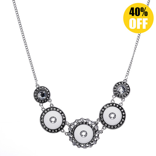 Beautiful Flower Silver Button Necklace Fit 18mm Snap Charms With Chain LSNP181