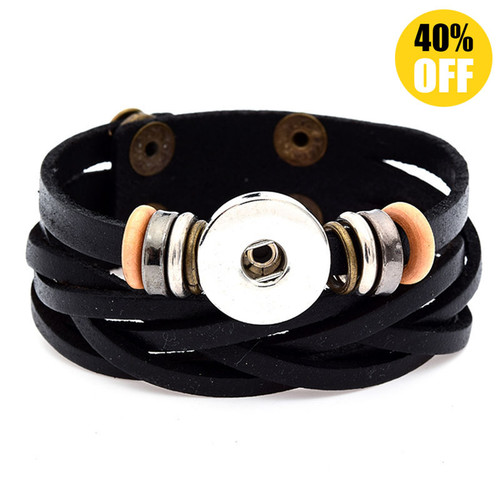 Multilayered Braid Style Snap Button Bracelets LSNB89-1