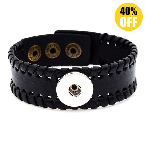 Flower Multilayered Braid Style Snap Button Bracelets LSNB90-1