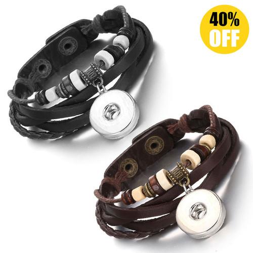 Multilayered Braid Style Snap Button Bracelets LSNB91
