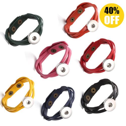 Pure Colors Multilayered Braid  Snap Button Bracelets LSNB95