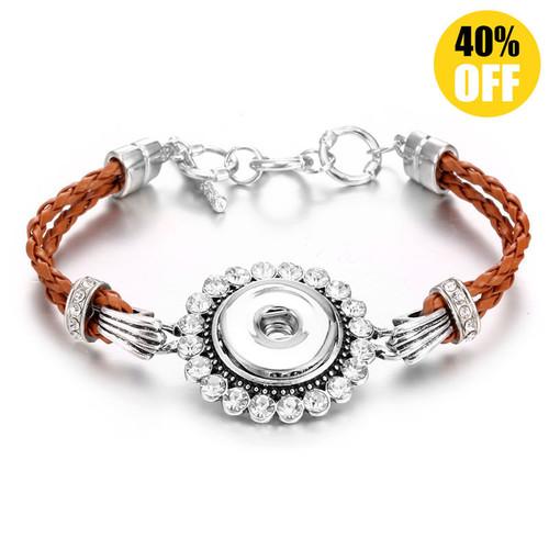 Orange Multilayered Braid Style Snap Button Bracelets LSNB92-1
