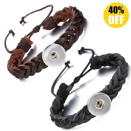 Multilayered Braid Style Snap Button Bracelets LSNB94