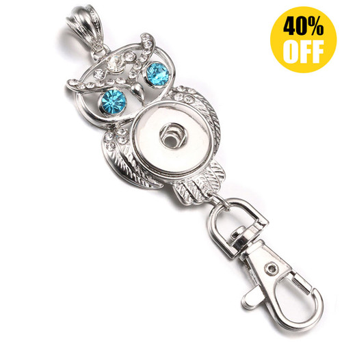 Blue owl Metal Snap Button Keychains LSNK10