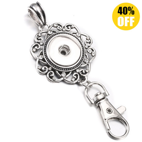 Flower Crystal Hollow Metal Snap Button Keychains LSNK08