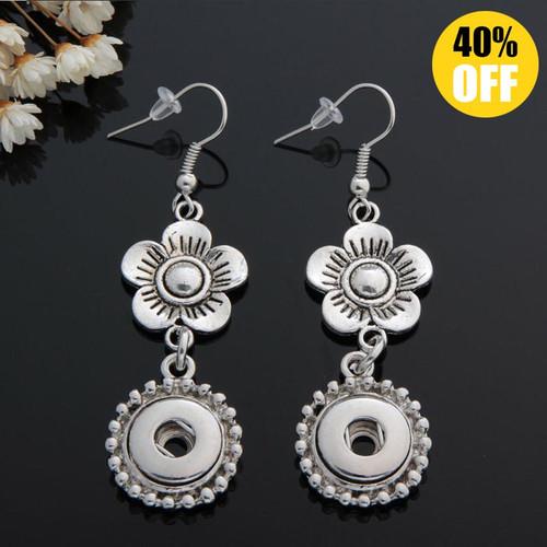 Beautiful Flower Snap Button Earring For Women Fit 12mm Snap Button LSEN12MM53
