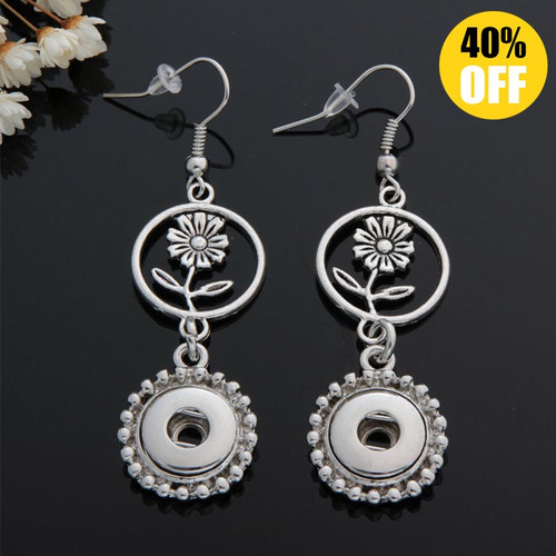 Beautiful Flower Snap Button Earring For Women Fit 12mm Snap Button LSEN12MM54