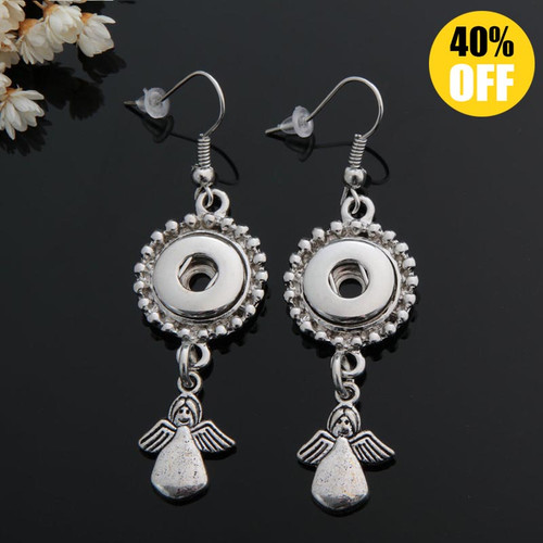 Angel Snap Button Earring Fit 12mm Snap Charms For Women LSEN12MM43