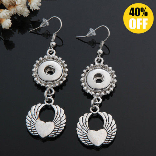 Wing Snap Button Earring Fit 12mm Snap Charms LSEN12MM81