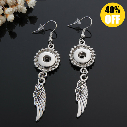 Wing Snap Button Earring Fit 12mm Snap Charms LSEN12MM82