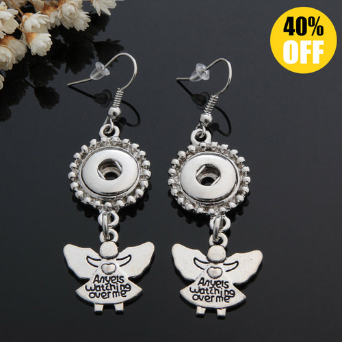 Angels Watching Over Me Snap Button Earring Fit 12mm Snap Charms LSEN12MM83