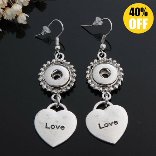 Heart Love Snap Button Earring Fit 12mm Snap Charms LSEN12MM84