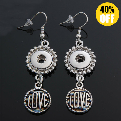 Love Snap Button Earring Fit 12mm Snap Charms LSEN12MM85