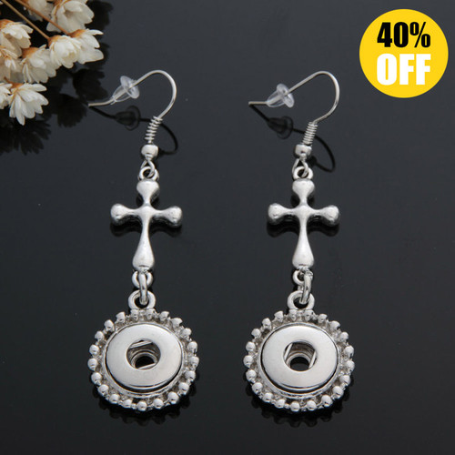 Vintage Cross Snap Button Earring For Women LSEN12MM57