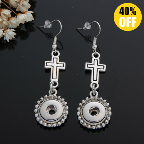 Vintage Cross Snap Button Earring For Women LSEN12MM58