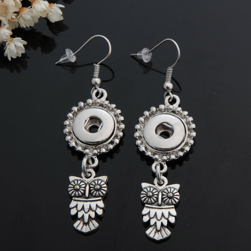 1 Pair! Vintage Owl Snap Button Earring For Women Fit 12mm Snap Button LSEN12MM34