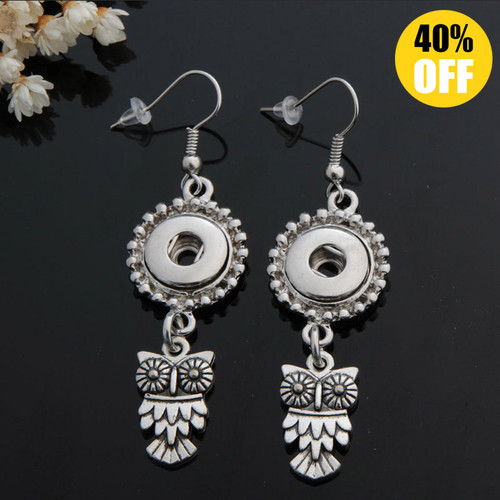Vintage Owl Snap Button Earring For Women Fit 12mm Snap Button LSEN12MM34