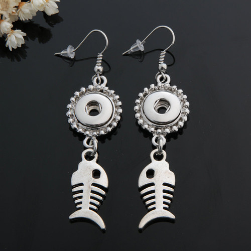 1 Pair! Fish Snap Button Earring For Women Fit 12mm Snap Button LSEN12MM37