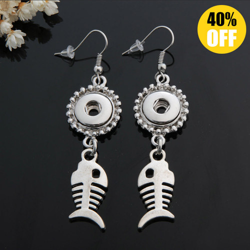 Fish Snap Button Earring For Women Fit 12mm Snap Button LSEN12MM37