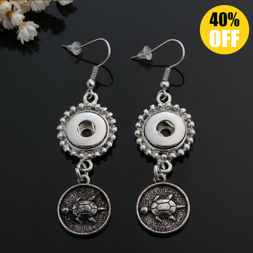 Tortoise Snap Button Earring For Women Fit 12mm Snap Button LSEN12MM38